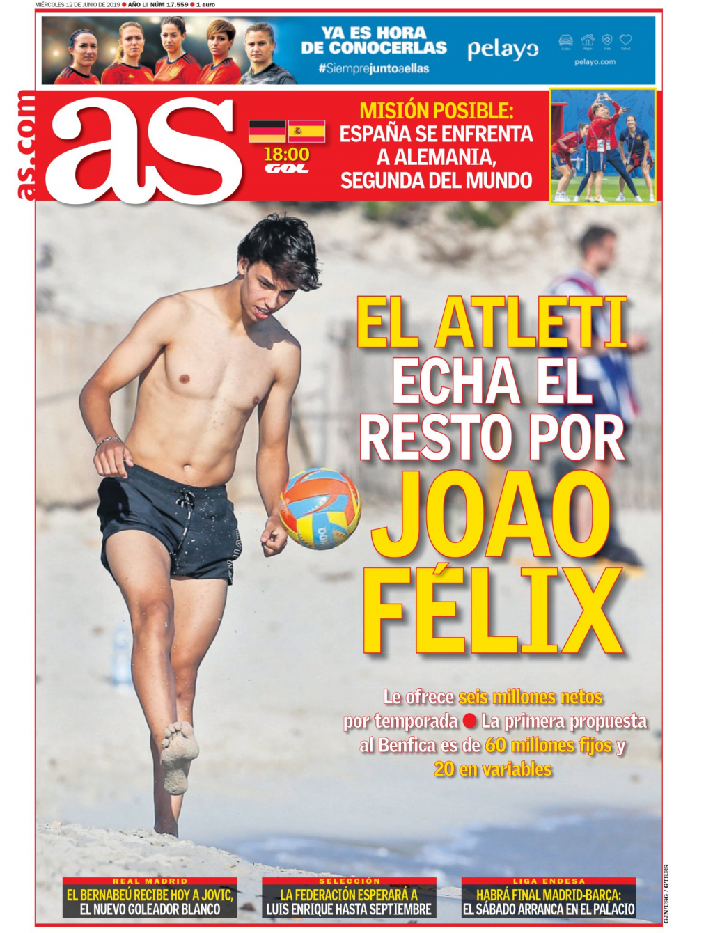 Capa do As com João Félix
