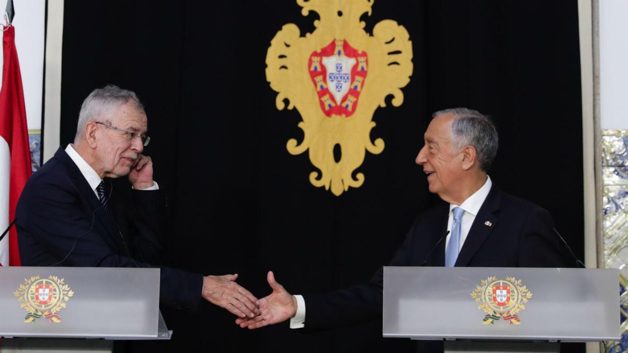 Presidente da Áustria, Alexander van der Bellen, e Marcelo Rebelo de Sousa