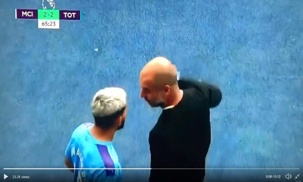 Discussão entre Guardiola e Aguero (twitter)