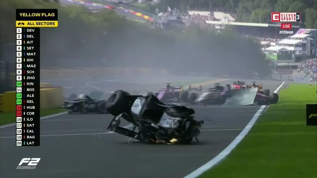 Acidente brutal na Formula 2 em Spa