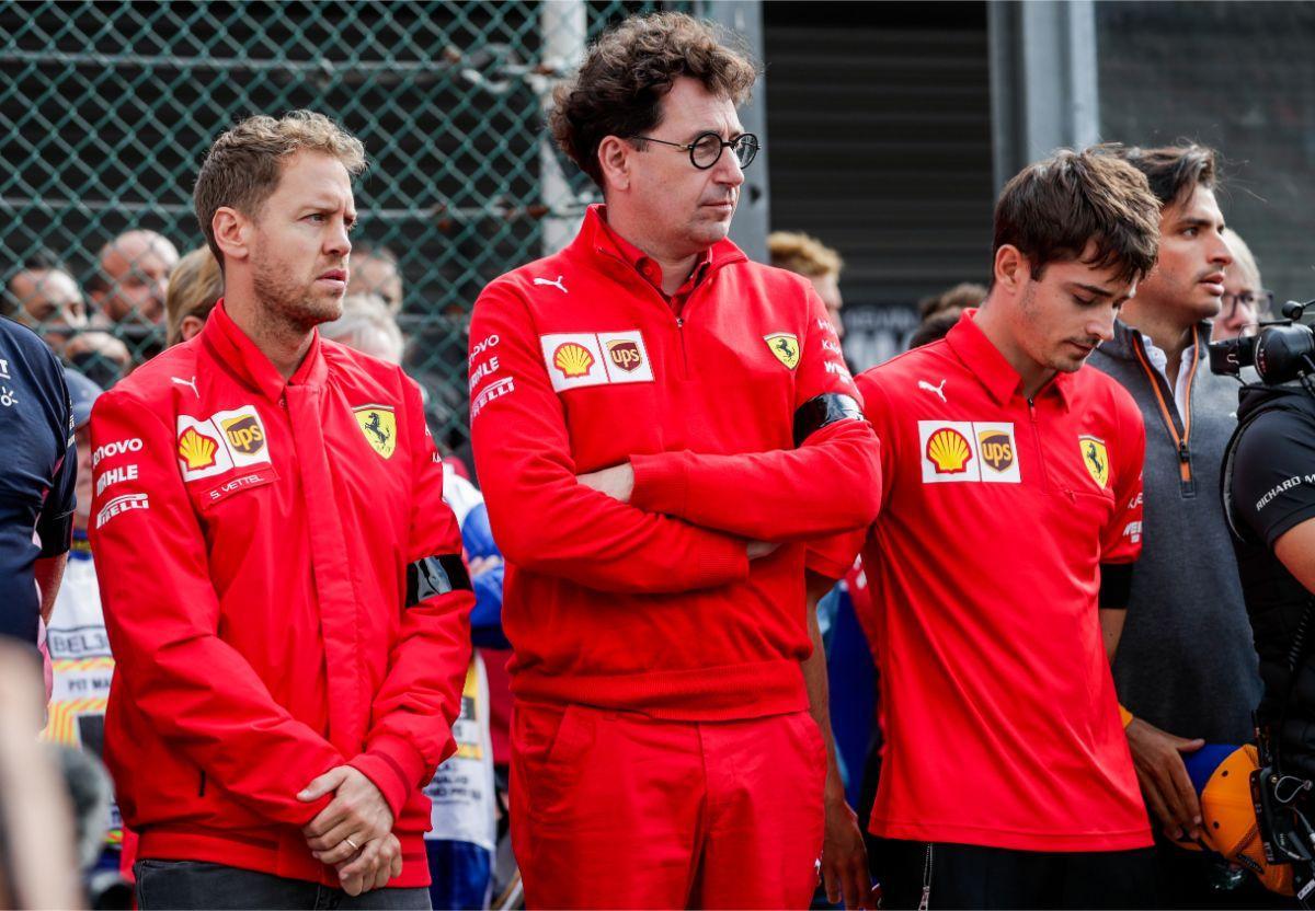 Vettel, Binotto e Leclerc (Lusa)