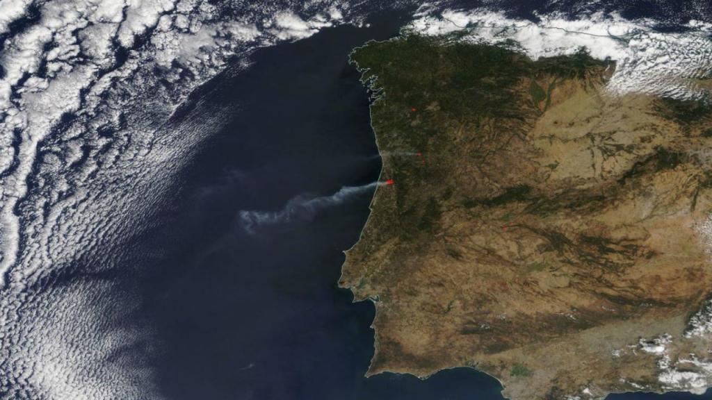 NASA capta incêndios em Aveiro