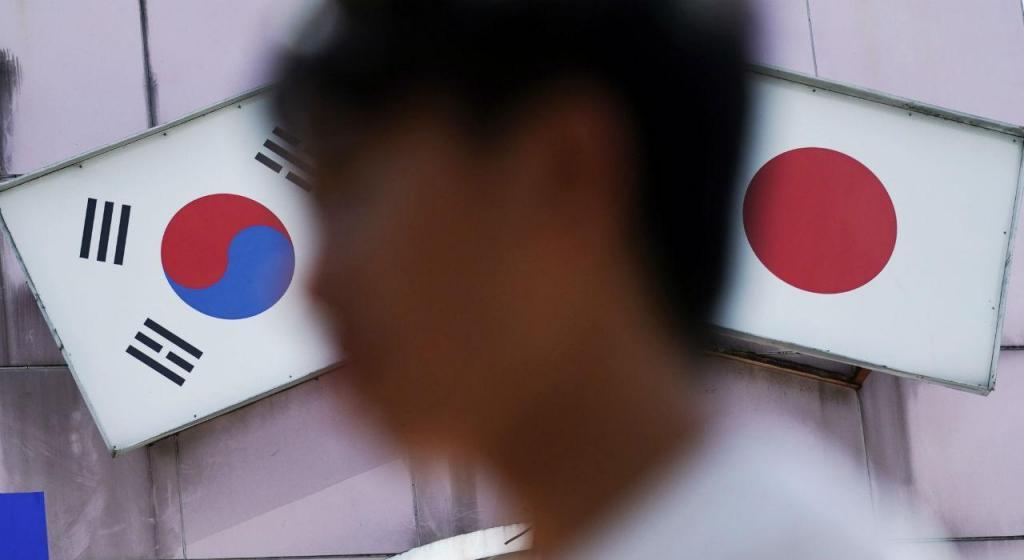 Bandeira Coreia do Sul e Japão