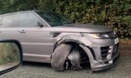 Carro de Sergio Aguero, após acidente de viação