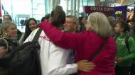 A festa da chegada ao aeroporto dos ginastas campeões