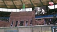 O 'tifo' do Hertha com JFK pelos 30 anos da queda do muro