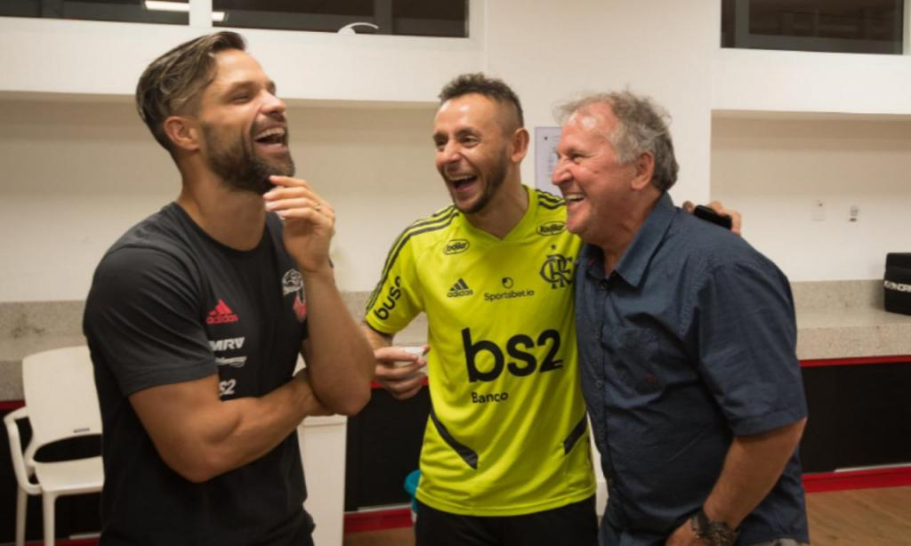 Zico com Diego, Gabigol e Filipe Luís (Flamengo)
