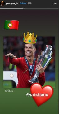 Georgina Rodríguez reage ao hat-trick de Ronaldo (Instagram)