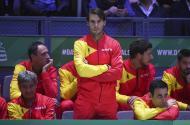 Rafael Nadal no banco da seleção espanhola
