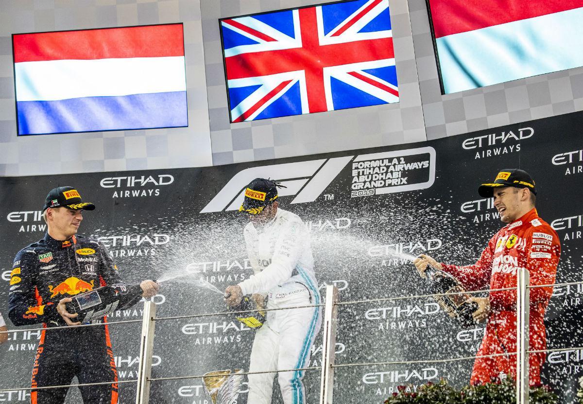 O pódio do GP de Abu Dhabi (lusa)