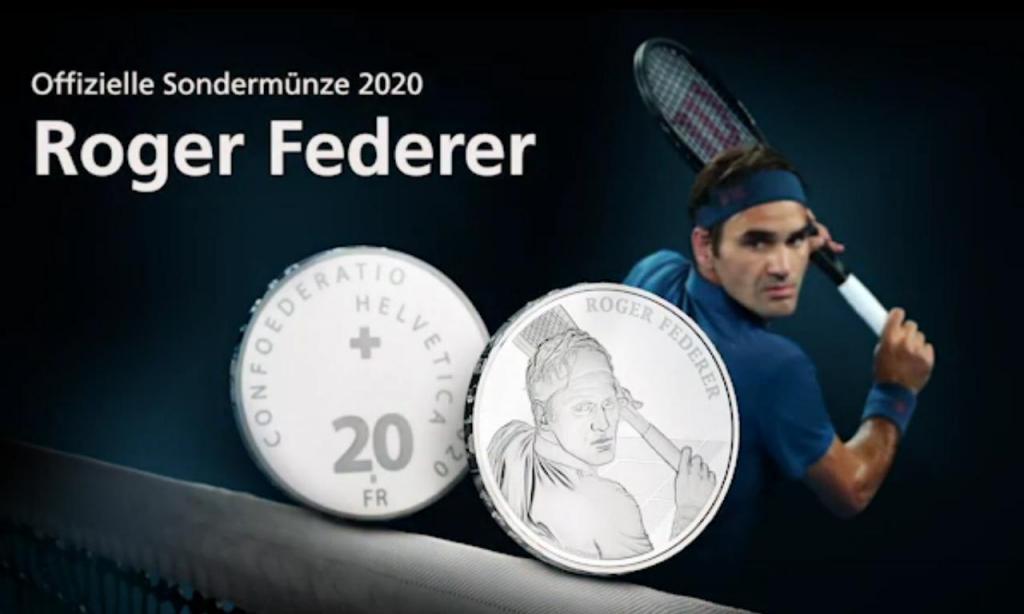 Suíça cunha moedas de 20 e 50 francos com imagem de Federer