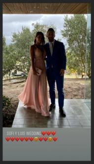Messi e Antonella Roccuzzo na festa de renovação dos votos de casamento de Luis Suarez