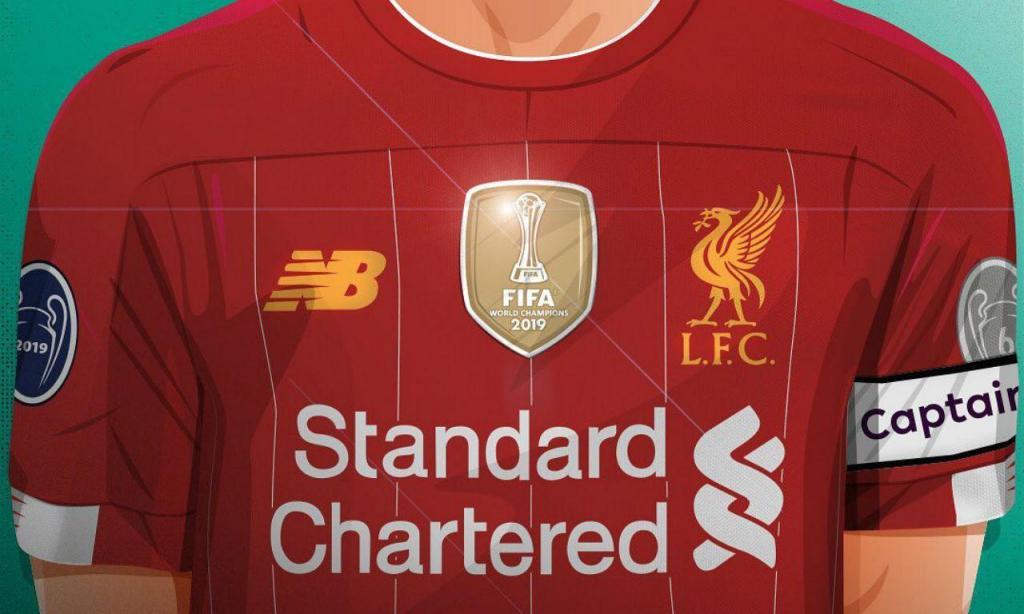 Camisola do Liverpool com o símbolo de campeão do mundo
