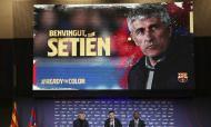 Quique Setién apresentado no Barcelona (AP)
