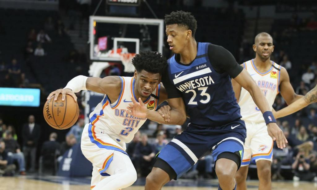 Minnesota Timberwolves-Oklahoma City Thunder (AP Photo/Jim Mone): Jarrett Culver e Shai Gilgeous-Alexander