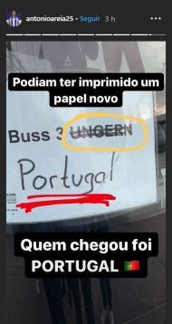 Autocarro de Portugal estava reservado para a Hungria (instagram)