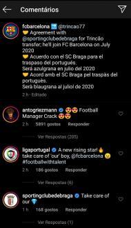 Comentário de Griezmann à contratação de Trincão pelo Barcelona