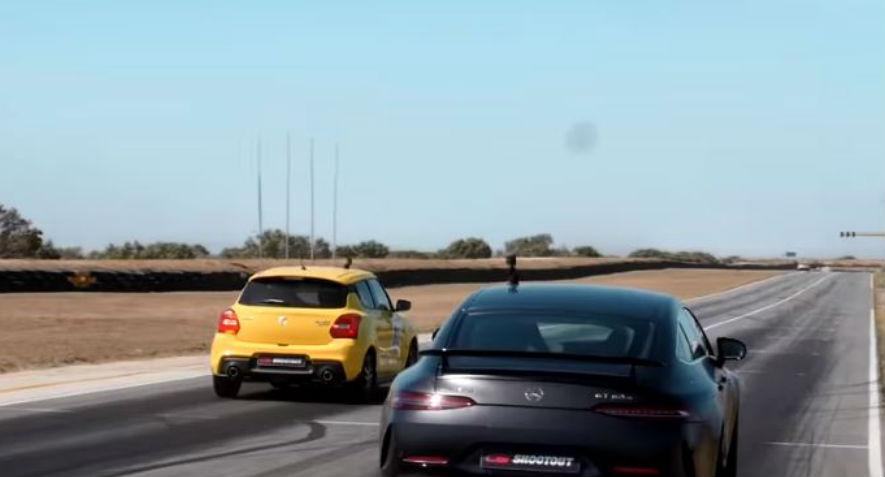 Suzuki Swift Sport vs, Mercedes-AMG GT63 S  (Reprodução Youtube Carmag)