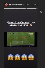 A reação de Bruno Fernandes ao golo de Mathieu