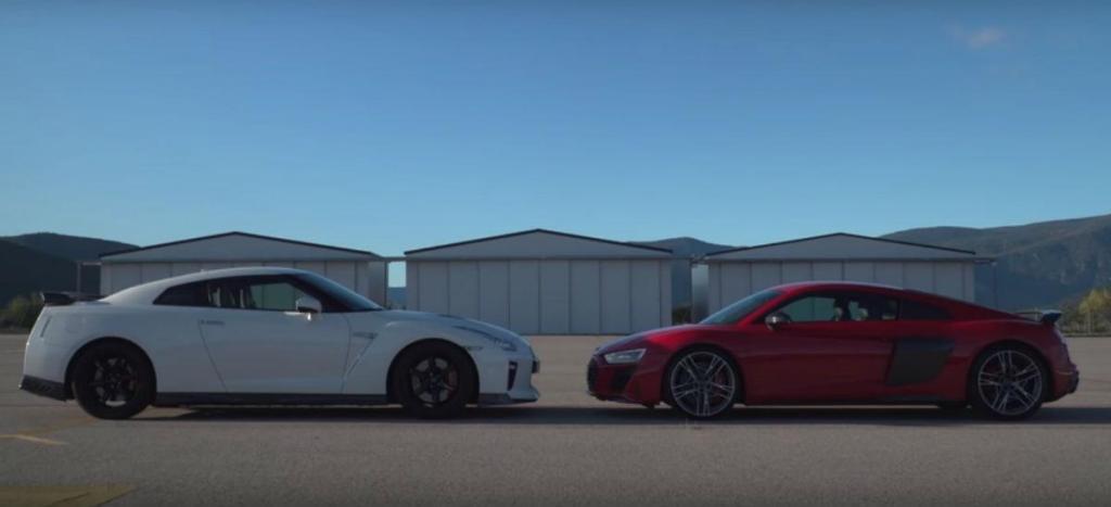 Drag race entre Nissan GT-R e Audi R8 (reprodução «Coches.net»)