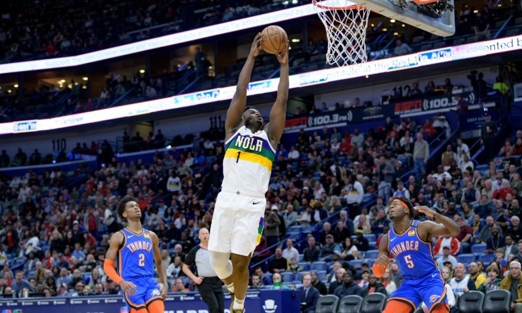 Zion Williamson nos New Orleans Pelicans-Oklahoma City Thunder (AP Photo/Matthew Hinton)