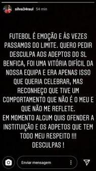 Pedido de desculpas de Raúl Silva (instagram)