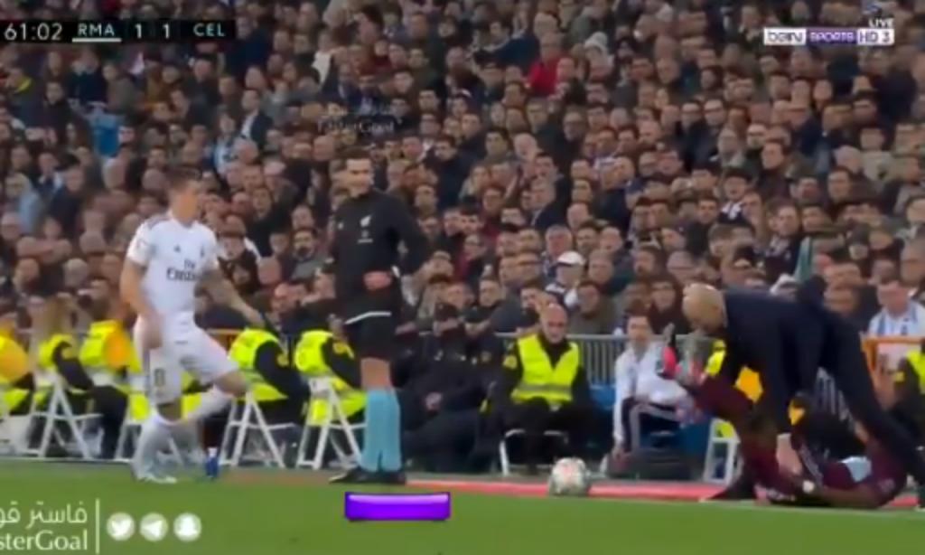 VÍDEO: Zidane sofre «placagem» no Real Madrid-Celta de Vigo (twitter)