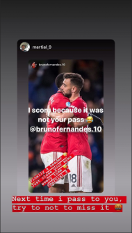 Bruno Fernandes e Martial (instagram)