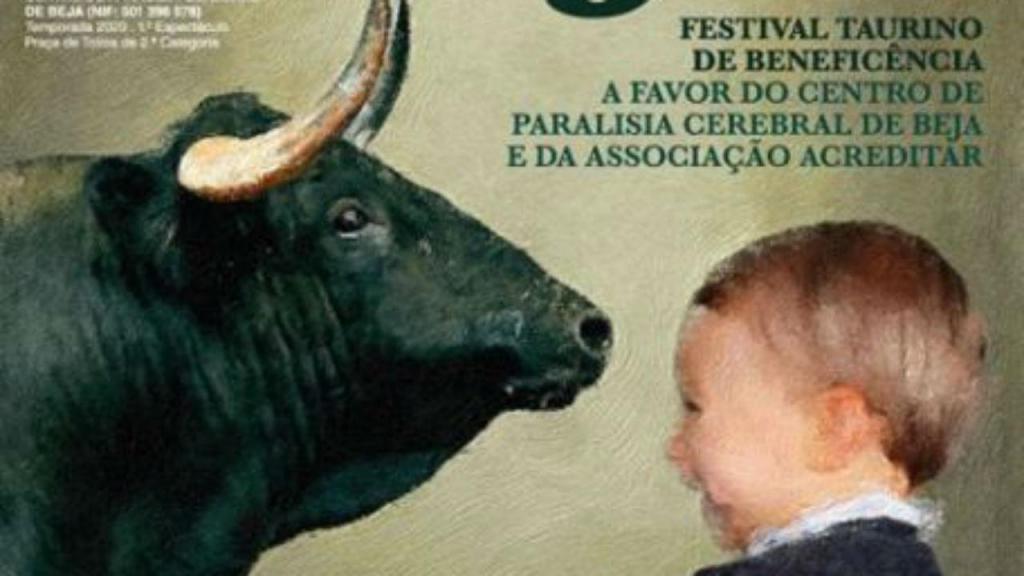 Cartaz de promoção de tourada que envolve a Acreditar