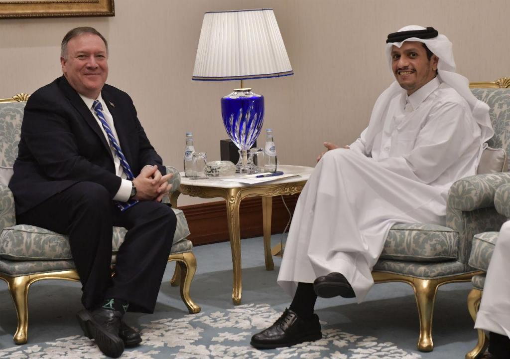 Mike Pompeo e Mohammed bin Abdulrahman Al Thani