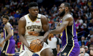 New Orleans Pelicans-Los Angeles Lakers: Zion e LeBron James (AP/Rusty Costanza)