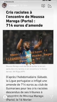 Marega reage a multa imposta ao V. Guimarães: «Posso pagar por eles?»