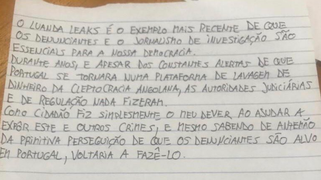 Ana Gomes revela mensagem de Rui Pinto