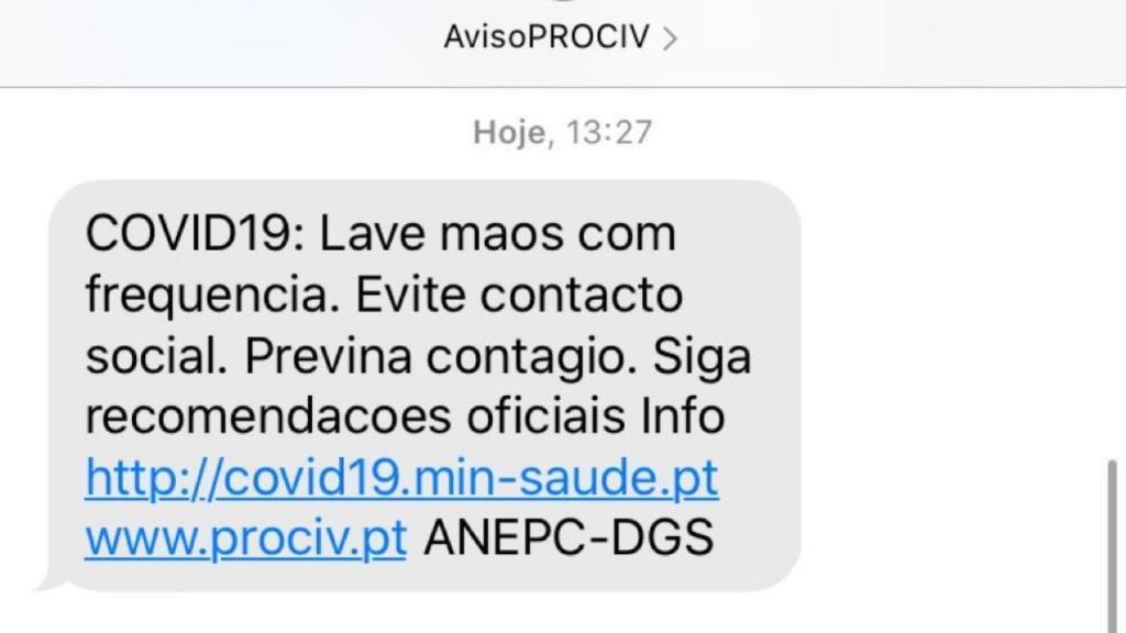 SMS Covid-19 da Proteção Civil