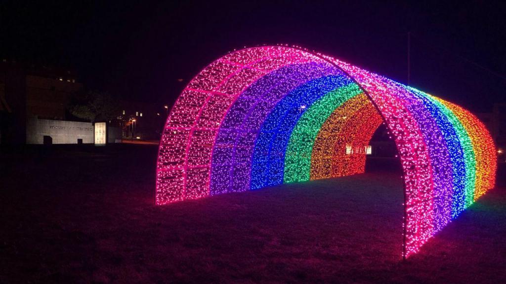 Arco-íris luminoso junto ao Hospital da Feira