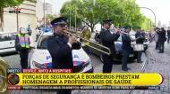 Forças de segurança e bombeiros homenageiam os profissionais de saúde