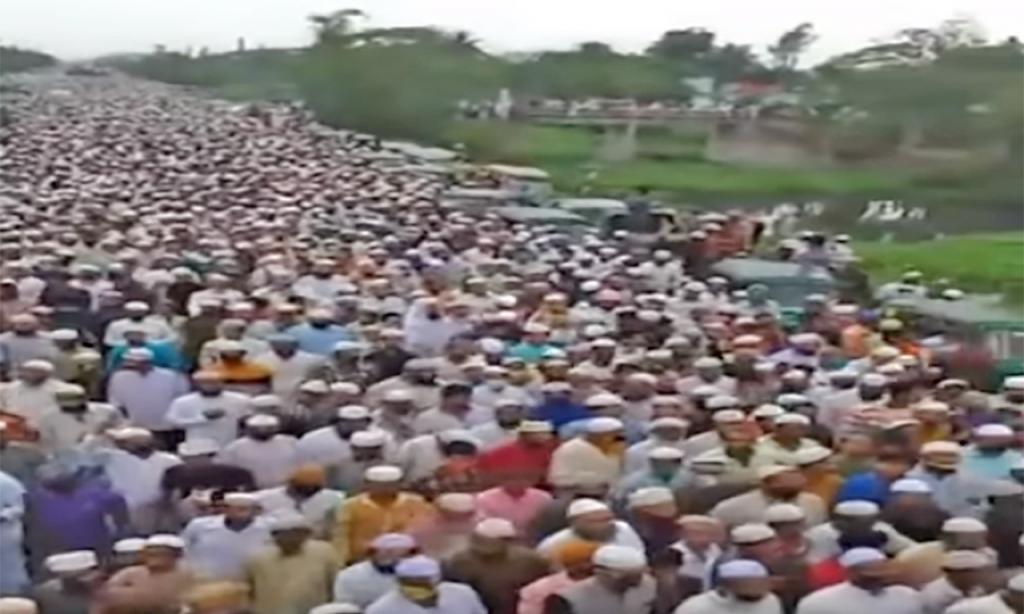 Funeral no Bangladesh, com cerca de cem mil pessoas, rompe confinamento imposto devido à covid-19