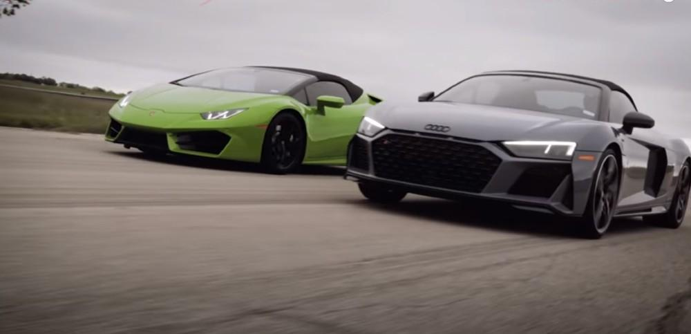 Audi R8 e Huracan Spyder (Reprodução Youtube)