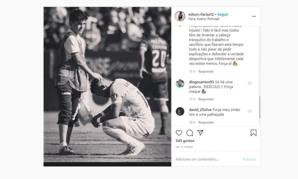«Luto» na II Liga (instagram Edson Farías)