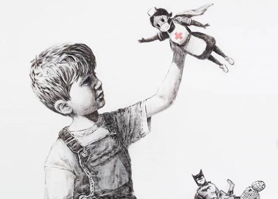 Banksy pintou um quadro para agradecer ao profissionais de saúde britânicos