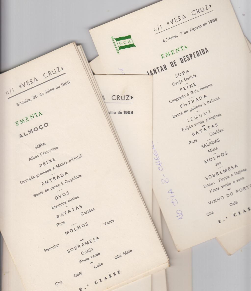Arquivo Ephemera: ementas dos navios Vera Cruz e Niassa