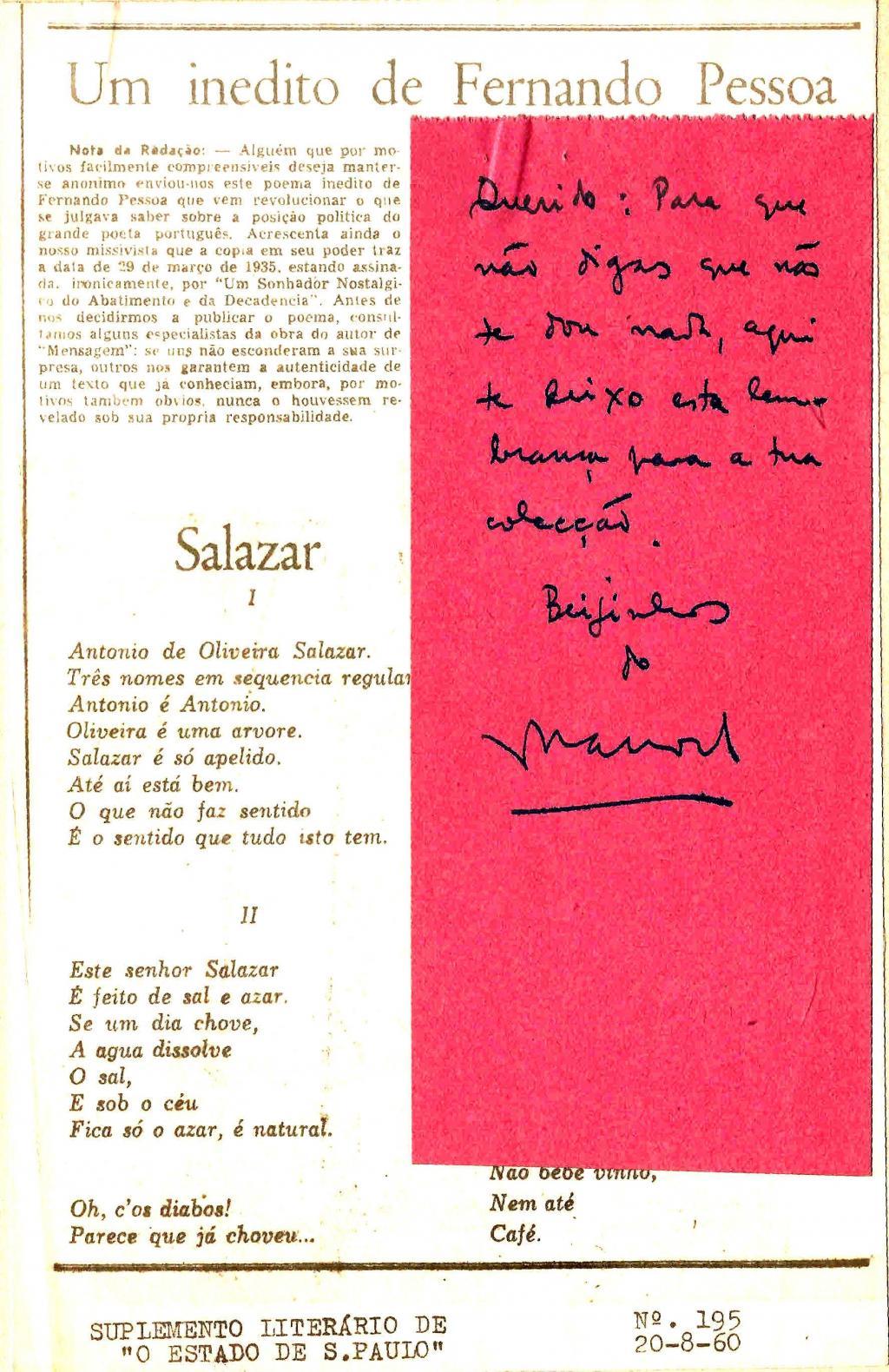 Arquivo Ephemera: poemas de Fernando Pessoa (1960)