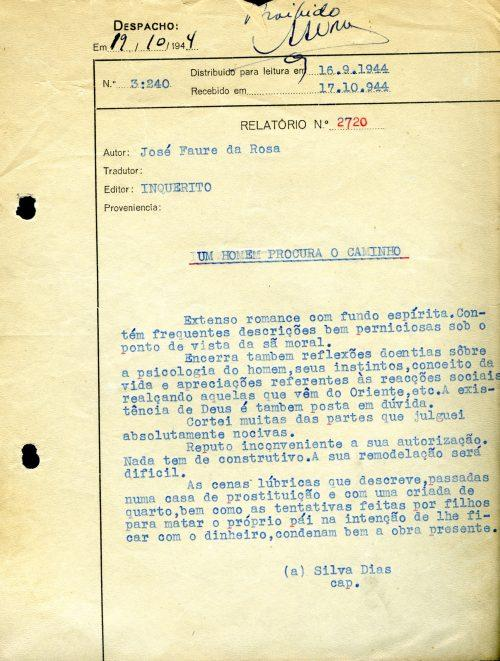 Arquivo Ephemera: despacho da censura a José Faure da Rosa (1944)