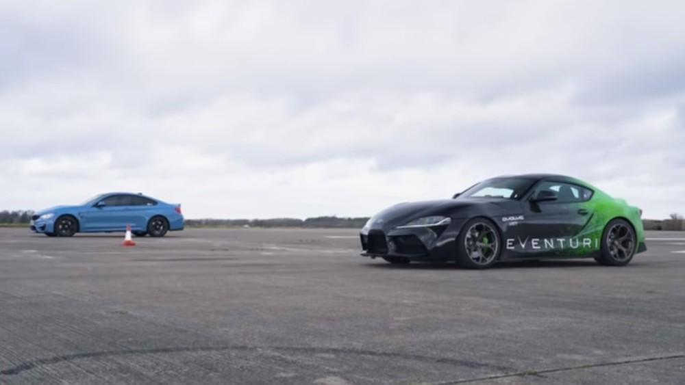 Drag Race Toyota Supra e BMW M4 (Reprodução Youtube Carwow)