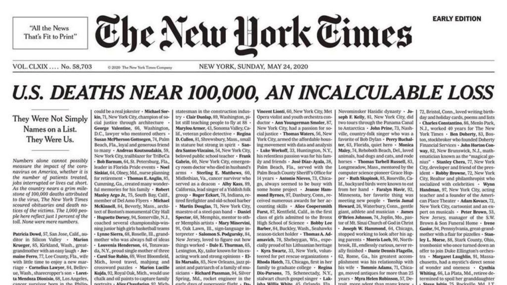 Capa do The New York Times homenageia os cerca de cem mil mortos nos Estados Unidos
