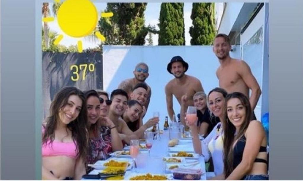 Jogadores do Sevilha quebram regras da quarentena (Instagram)