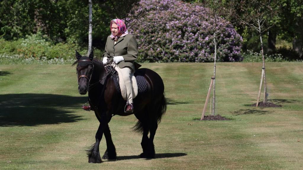 Isabel II fotografada nos jardins do Castelo de Windsor