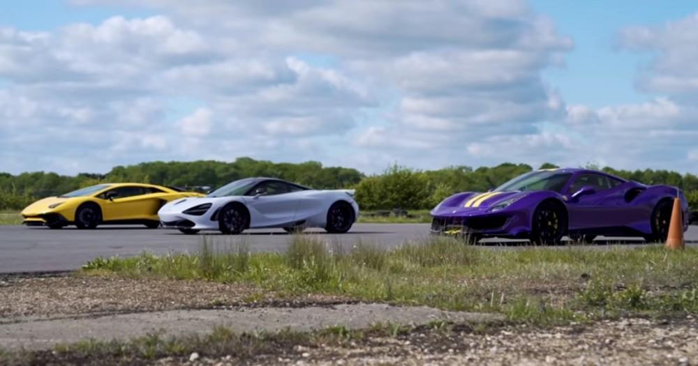 Drag Race Ferrari 488 Pista, McLaren 720S e Lamborghini Aventador SV (Reproduçao Youtube Carwow)