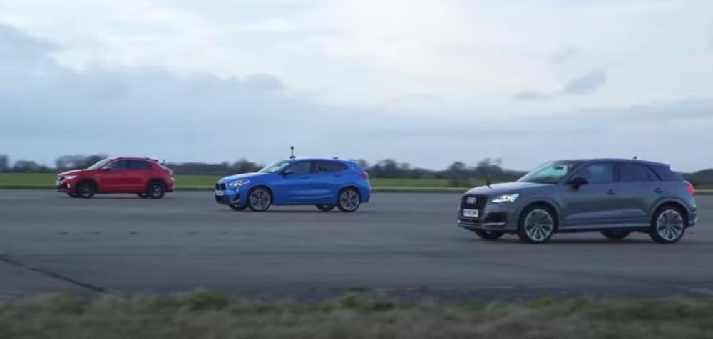 Drag Race T-Roc R, Audi SQ2 e BMW X2 (Reprodução Youtube Carwow)