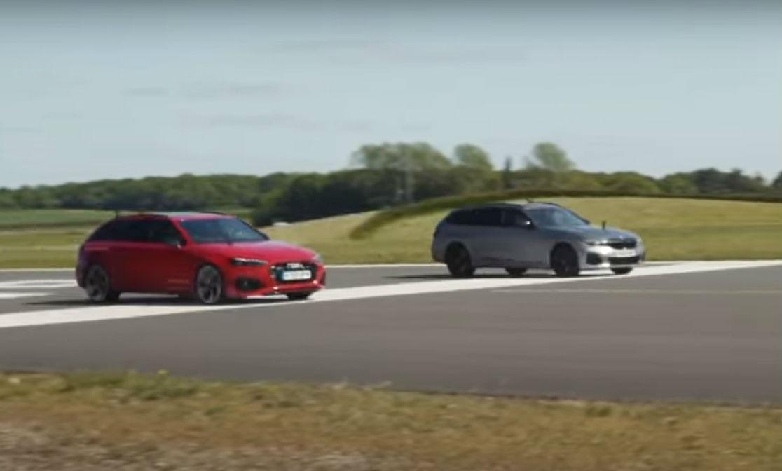 'Drag race' entre Audi RS 4 Avant e BMW M340i Touring (reprodução YouTube «Carwow»)